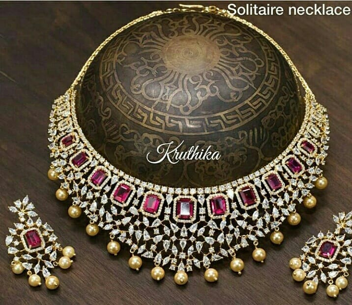 Gold Plated Solitaire Necklace From Kruthika Jewellery