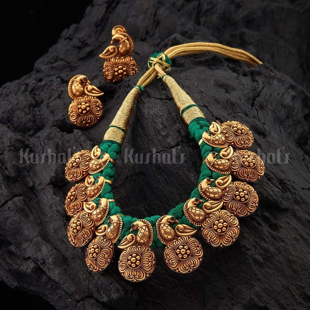 Beauiful Threadwork Necklace Set From Kushal Fashion Jewellery