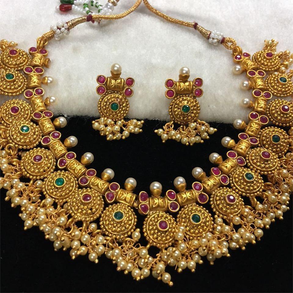 Matt Finish Necklace Set From Kirthi Fashions