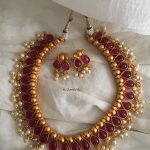 Stylish Ruby Pearl Necklace From Tvameva