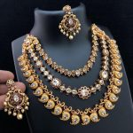 3 Layer Gold Plated Matt Finish Necklace From Accessory Villa