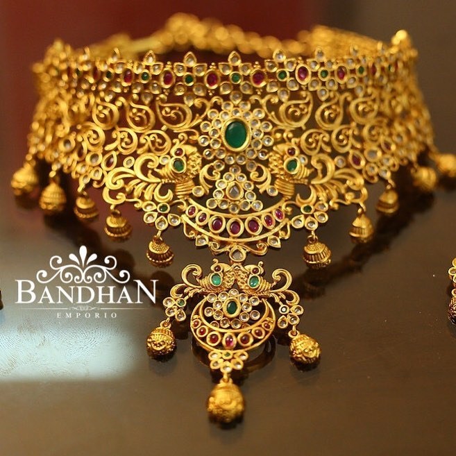 Antique Gold Plated Choker From Bandhan