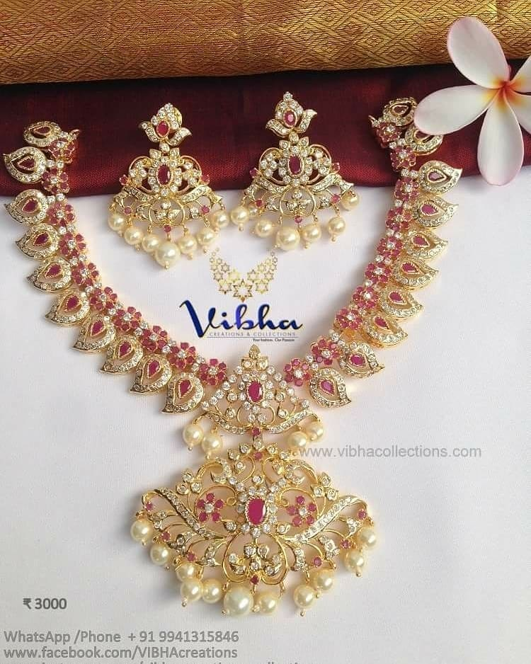 Beautiful Ruby Stone Necklace From Vibha Creations