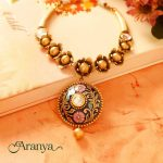 Gold Floral Necklace From Manubhai Jewellers