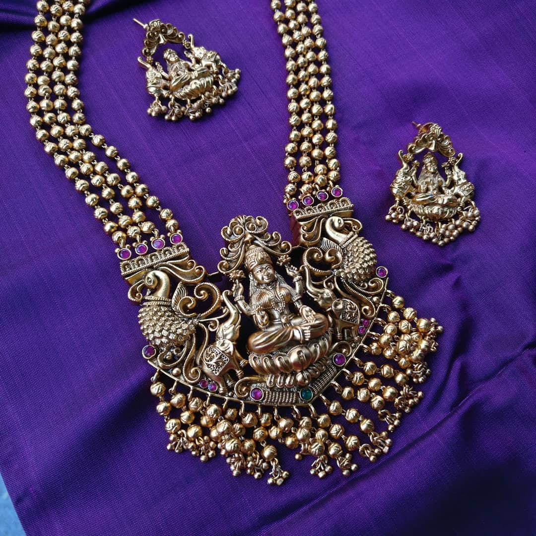 Layered antique gold toned haram From Rimli Boutique