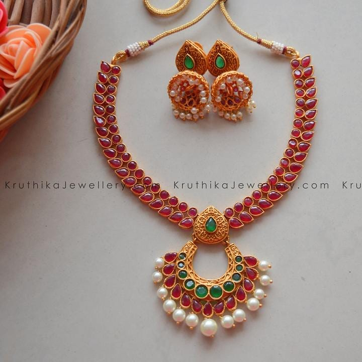 Matte Finished Ruby Necklace From Kruthika Jewellery