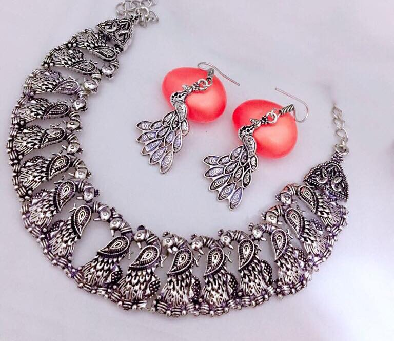 Stylish German Silver Necklace Set From Magha-Store