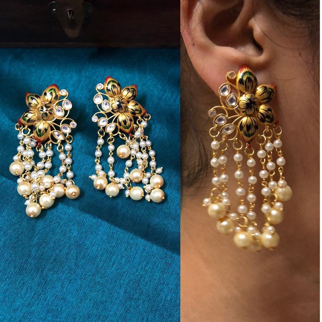 Lotus Enamel Pearl Bunch Earrings From Quillsspills