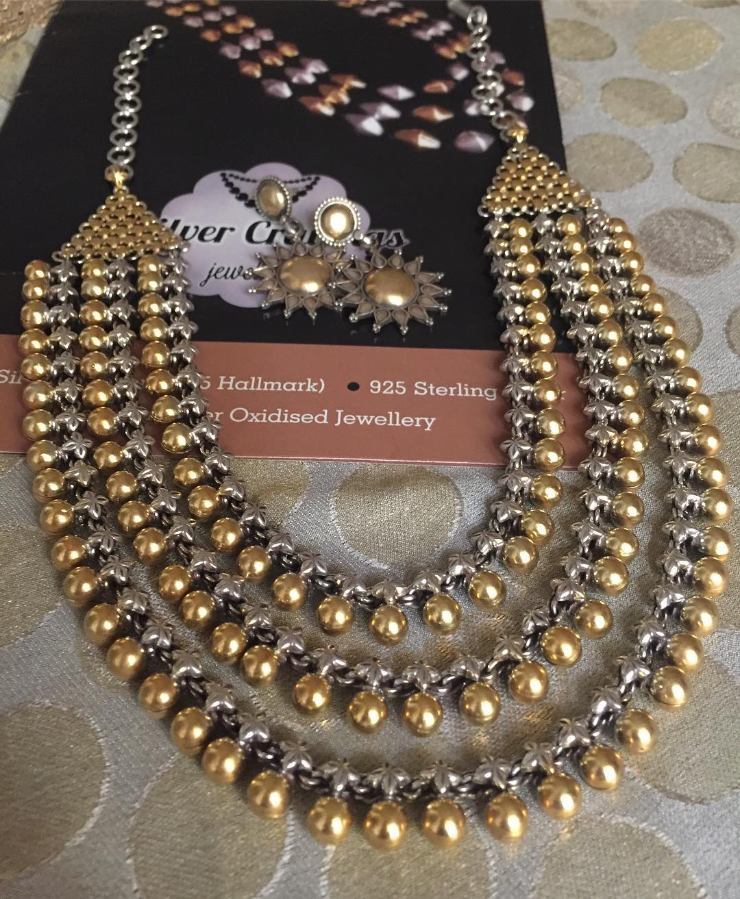 Dual Tone Three Layer Ball Necklace From Silver Cravings Jewellery