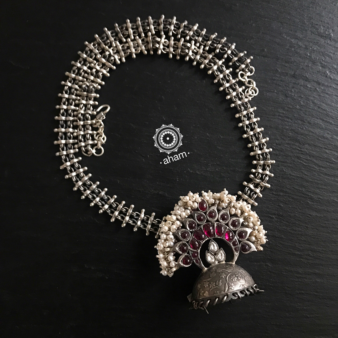 Handmade Silver Pearl Necklace From Aham Jewellery