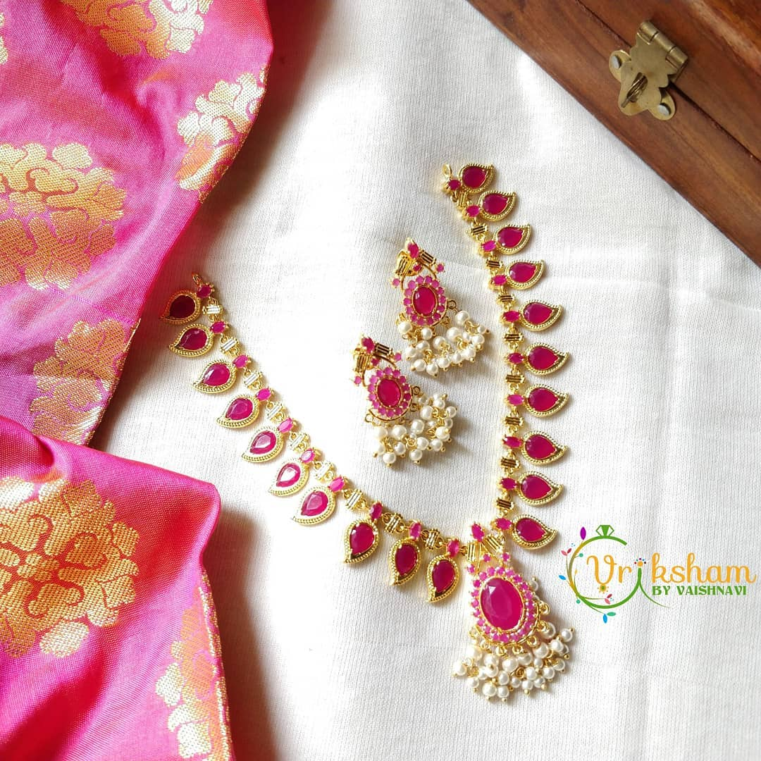 Precious Pink Necklace Set From Vriksham
