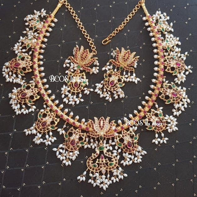 Pure Silver Gold Plated Lotus Guttapusalu Set From Bcos Its Silver