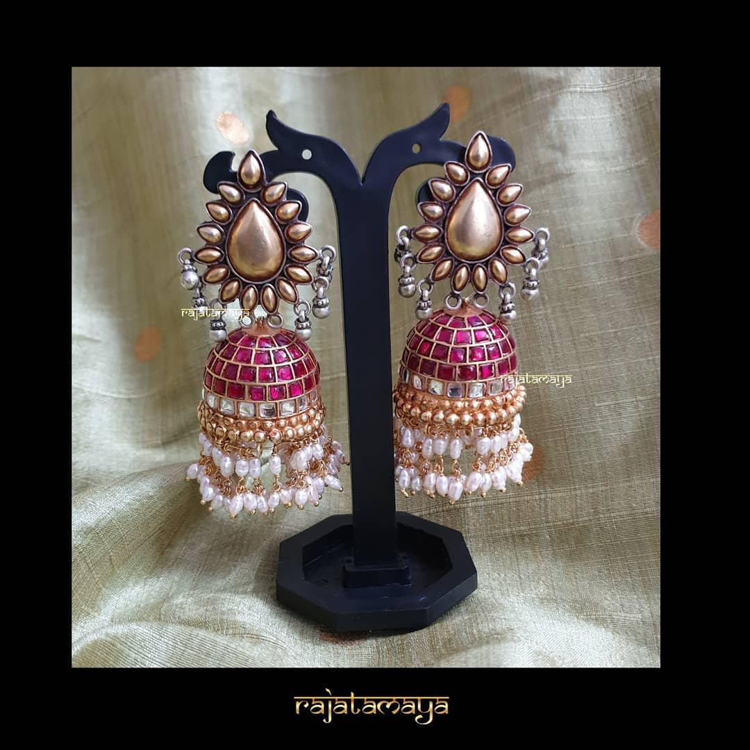 Dual Tone Jhumka From Rajatamaya