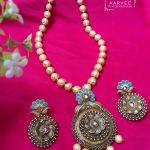 Pearl Neckset with Aqua colour From Aarvee Chennai