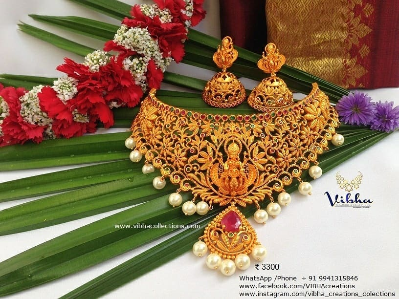 Stunning Temple Choker From Vibha Creations