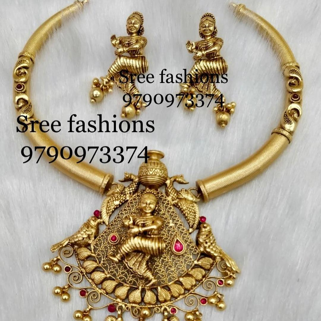 Ethnic Temple Necklace From Sree Exotic Silver Jewelleries