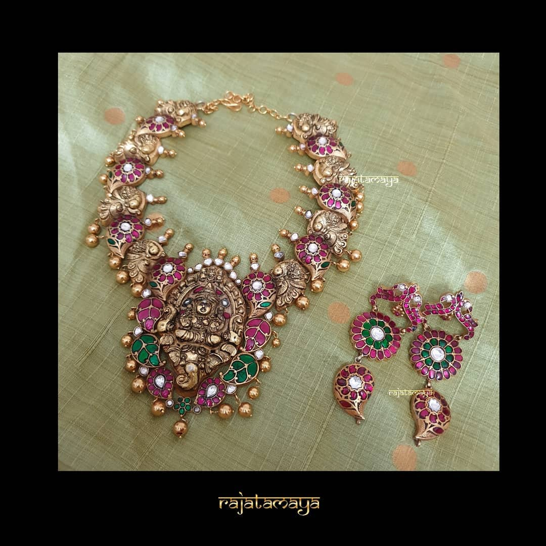 Handcarved Lakshmi Necklace From Rajatamaya