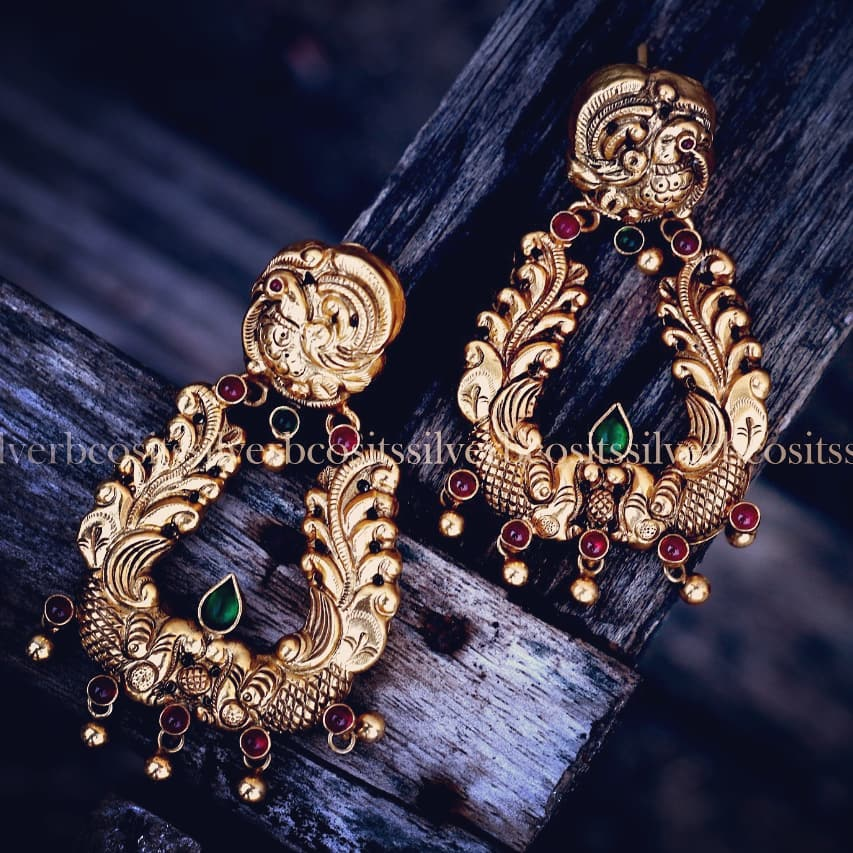 Pure silver handcrafted nakshi chandbalis From Bcos Its Silver
