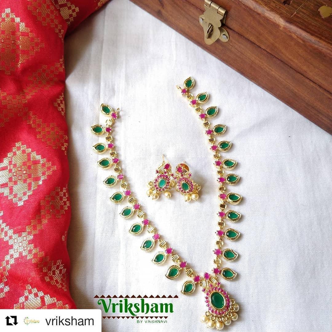 Trendy Green Mango Necklace From Vriksham