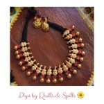 Handcrafted Lakshmi Gold Finish Necklace From Quills And Spills