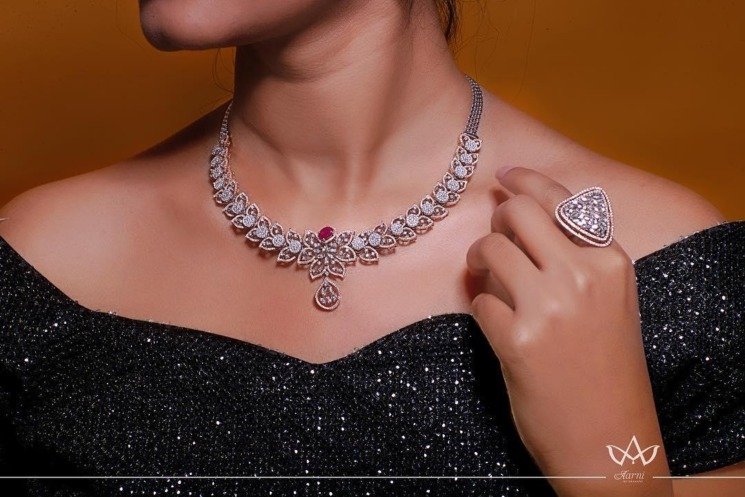 Pretty Diamond Necklace From Aarni By Shravani