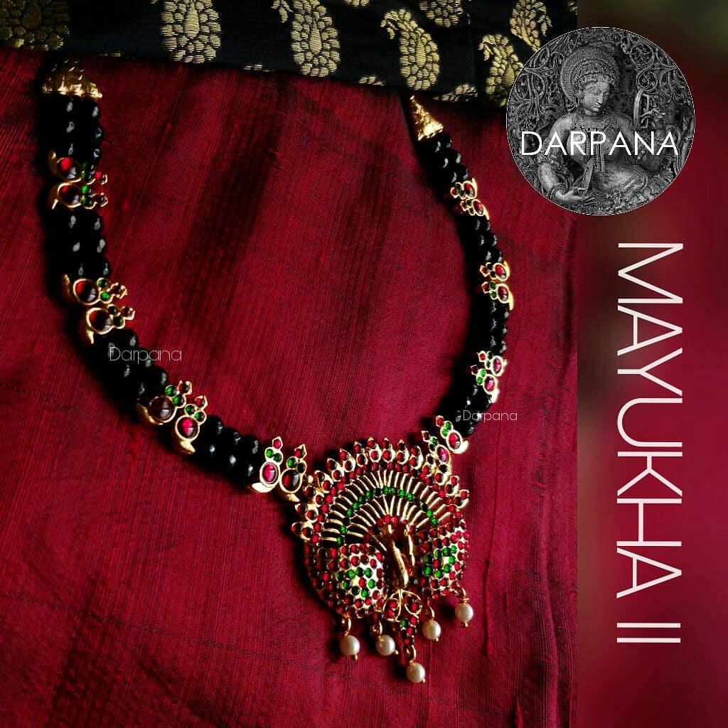 Beautiful Black Beaded Necklace From Darpana