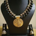 Beautiful Black Beaded Set With Antique Pendant From Milir Jewellery
