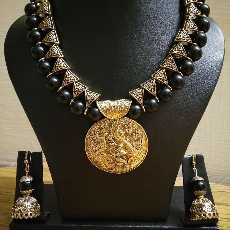 Beautiful black beaded n set with antique pendant-From-Milir-Jewellery