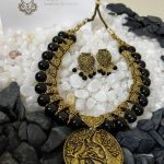 Classic Black Beaded Necklace Set From Milir Jewellery