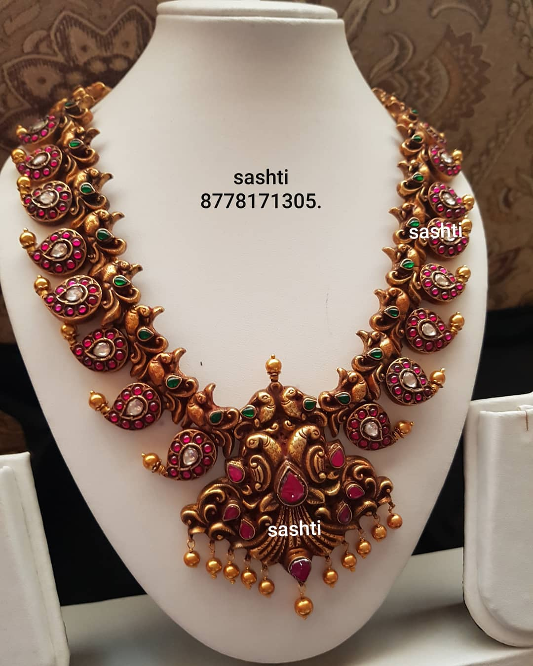 Gorgeous Silver Gold Plated Necklace From Silver Sashti