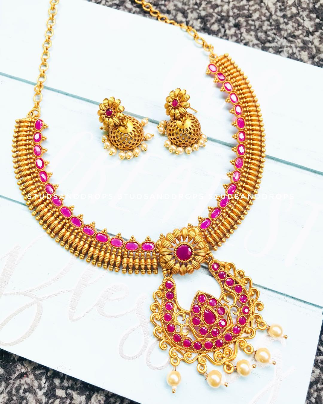 Ruby stone matte finish Necklace From Studs And Drops