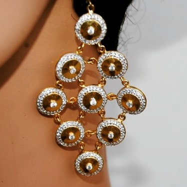 American Diamond Studded Gold Dangler Earrings From Orne Jewels