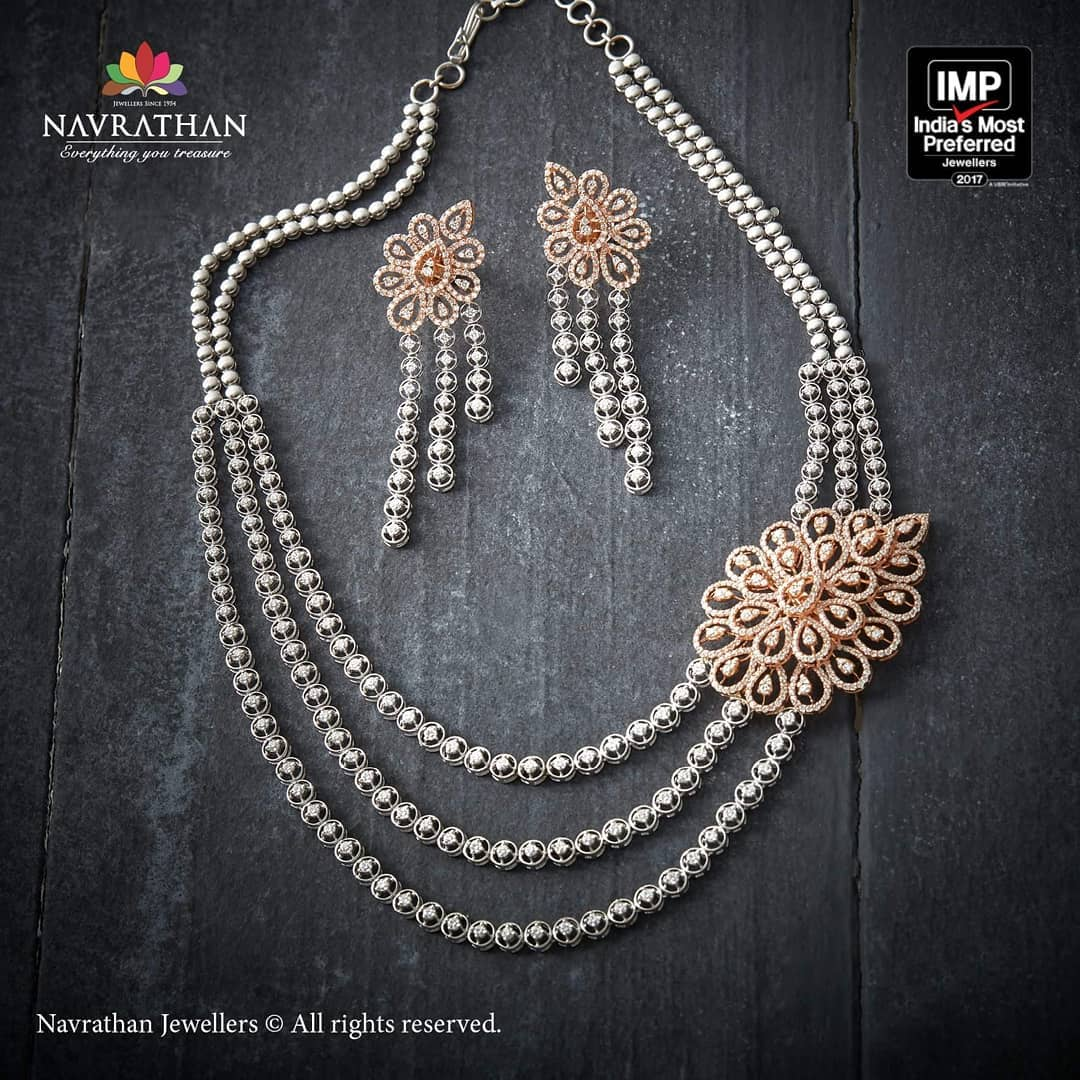 Decorative Diamond Necklace From Navrathan