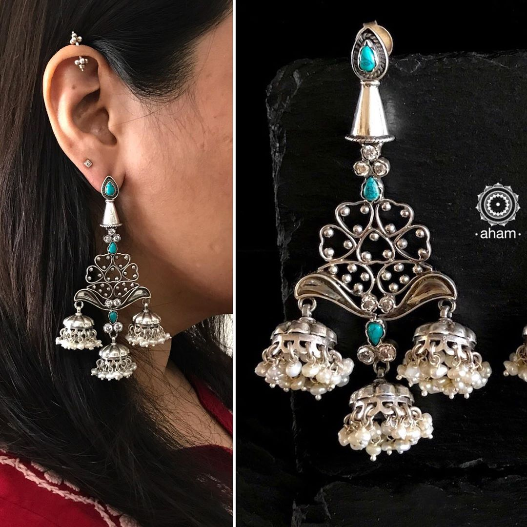 Handcrafted Silver Jhumka From Aham