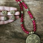 Pink Beaded Necklace Antique Peacock Pendant From Milir Jewellery