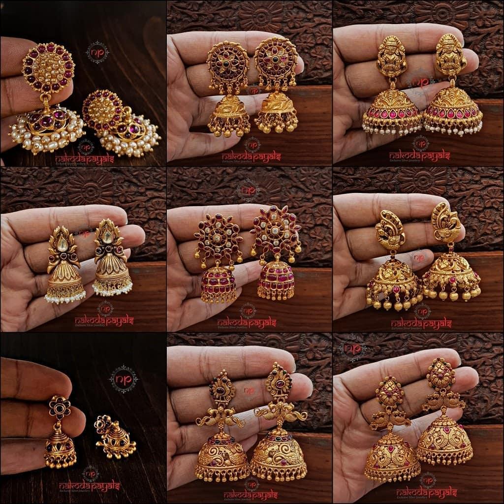 Antique Gold Finish Jhumka From Nakoda Payals