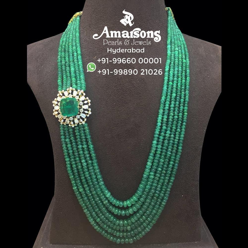 Diamond Side Broch with Emerald Mala From Amarsons Jewellery