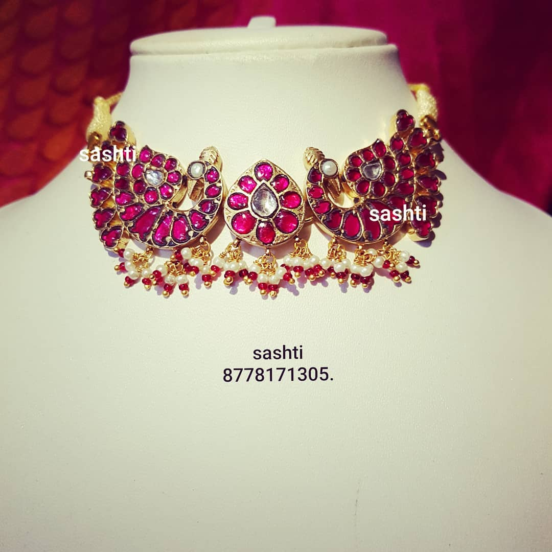 Ethnic Silver Gold Plated Choker From Silver Sashti