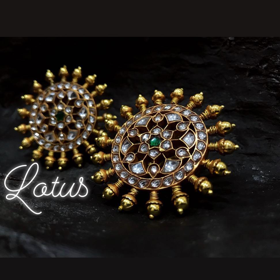 Kaviyaaa Designer Kundan Stud From Lotus Silver Jewellery