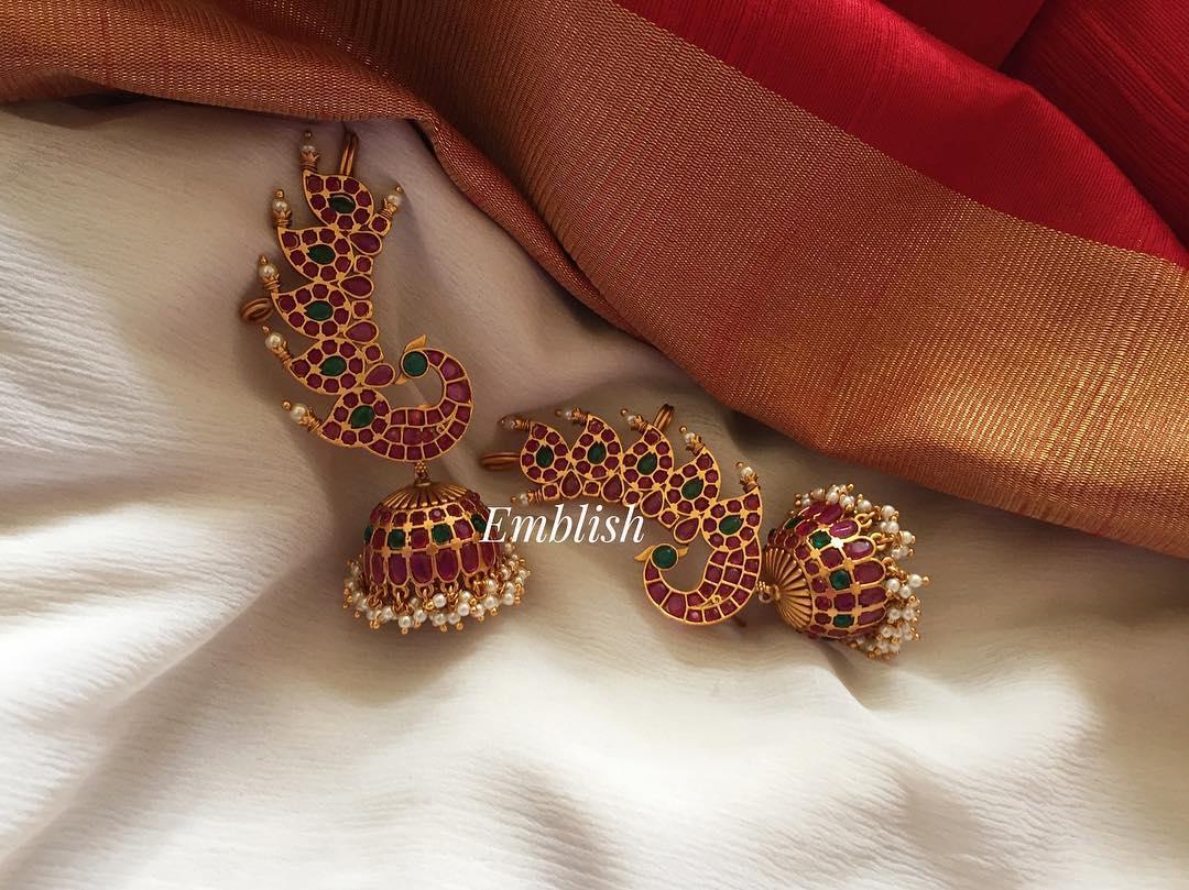 Kemp stones Peacock Ear cuff jhumka From Emblish Coimbatore