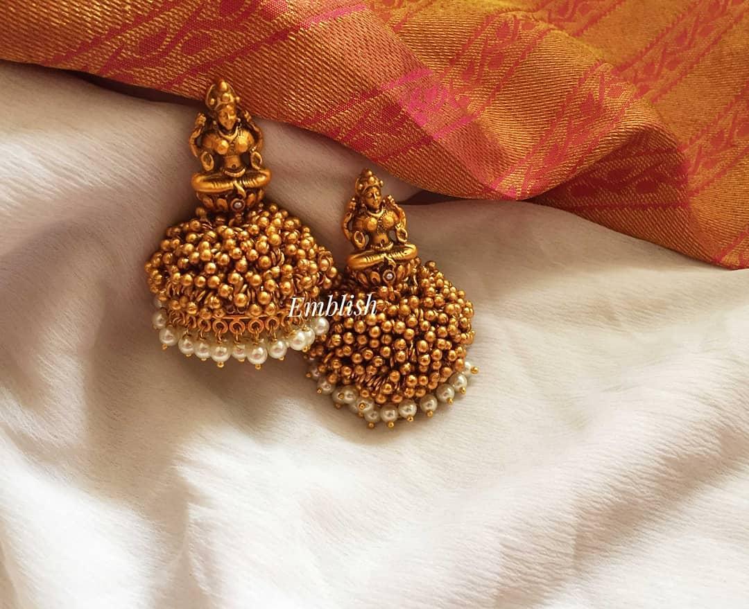 Lakshmi Gold Beads Jhumka From Emblish Coimbatore