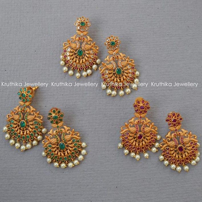 Matte finish stone earrings From Kruthika Jewellery