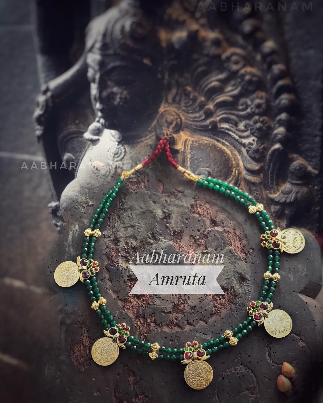 Cute Coin Kemp Necklace From Abharanam