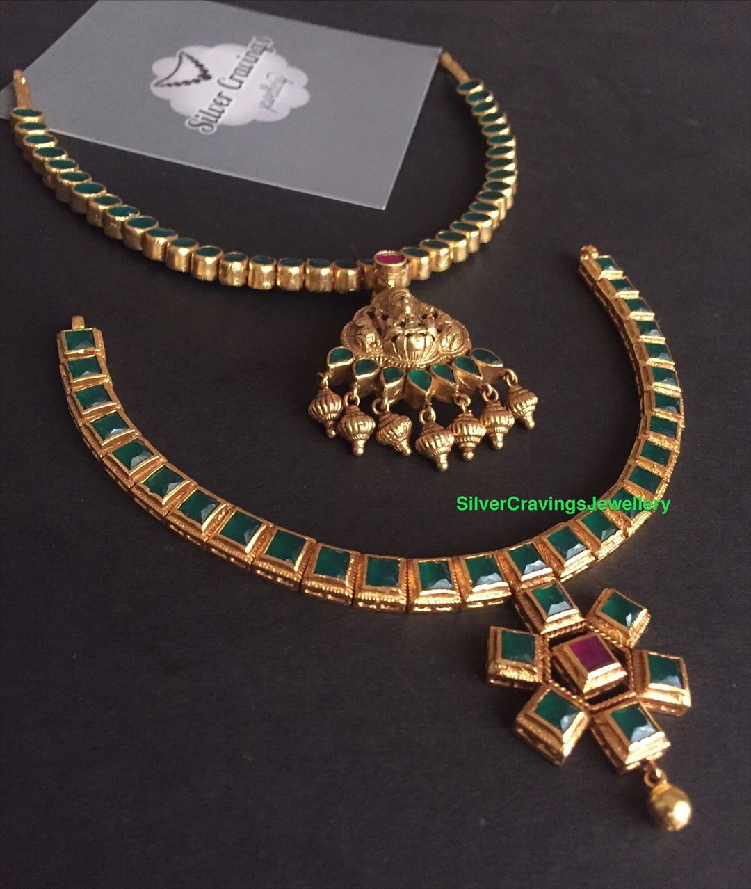 Emerald Cutstone Necklaces From Silver Cravings Jewellery