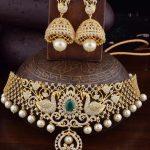 Gold polish AD Choker From Kruthika Jewellery