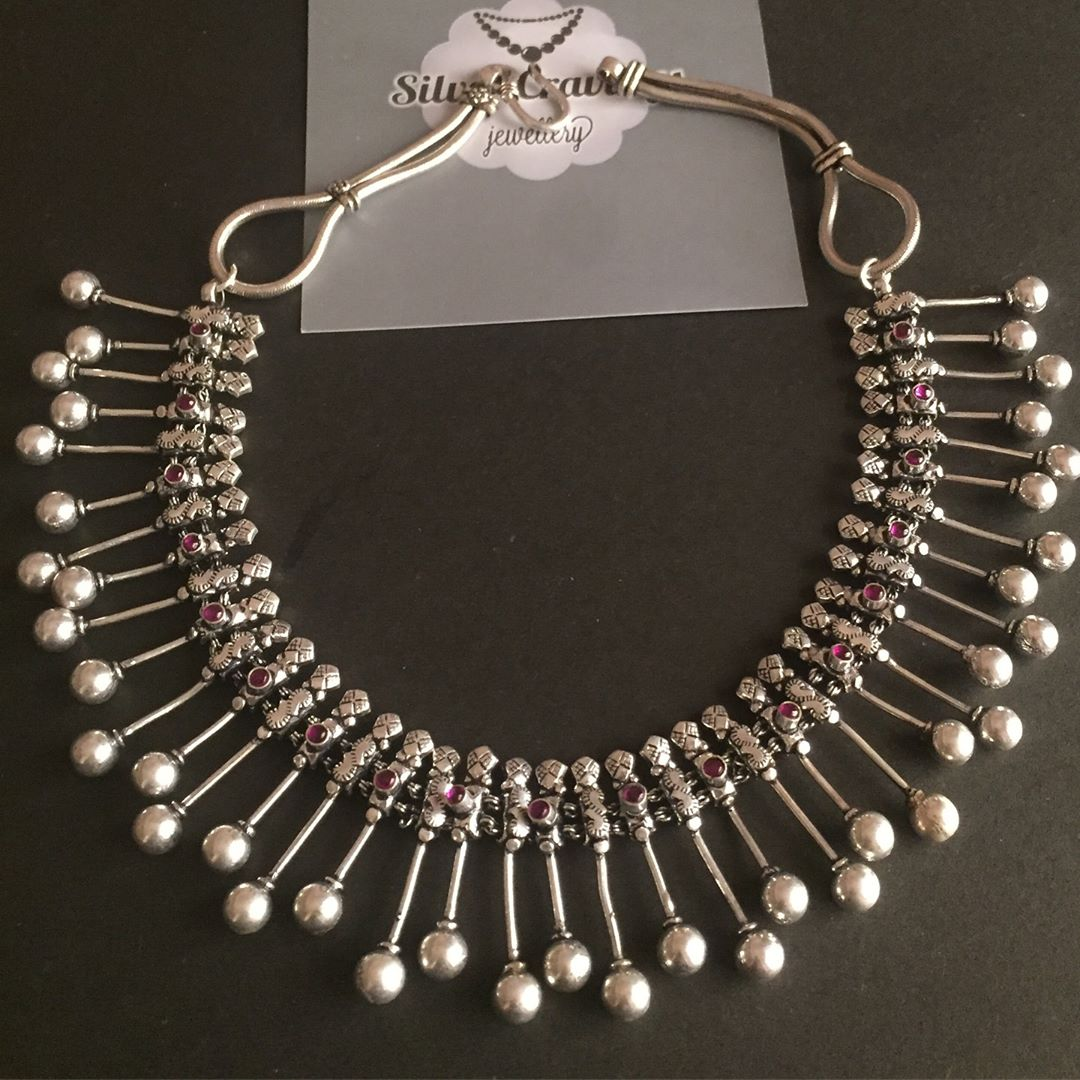 Pure Silver Spike Bead Necklace From Silver Cravings Jewellery