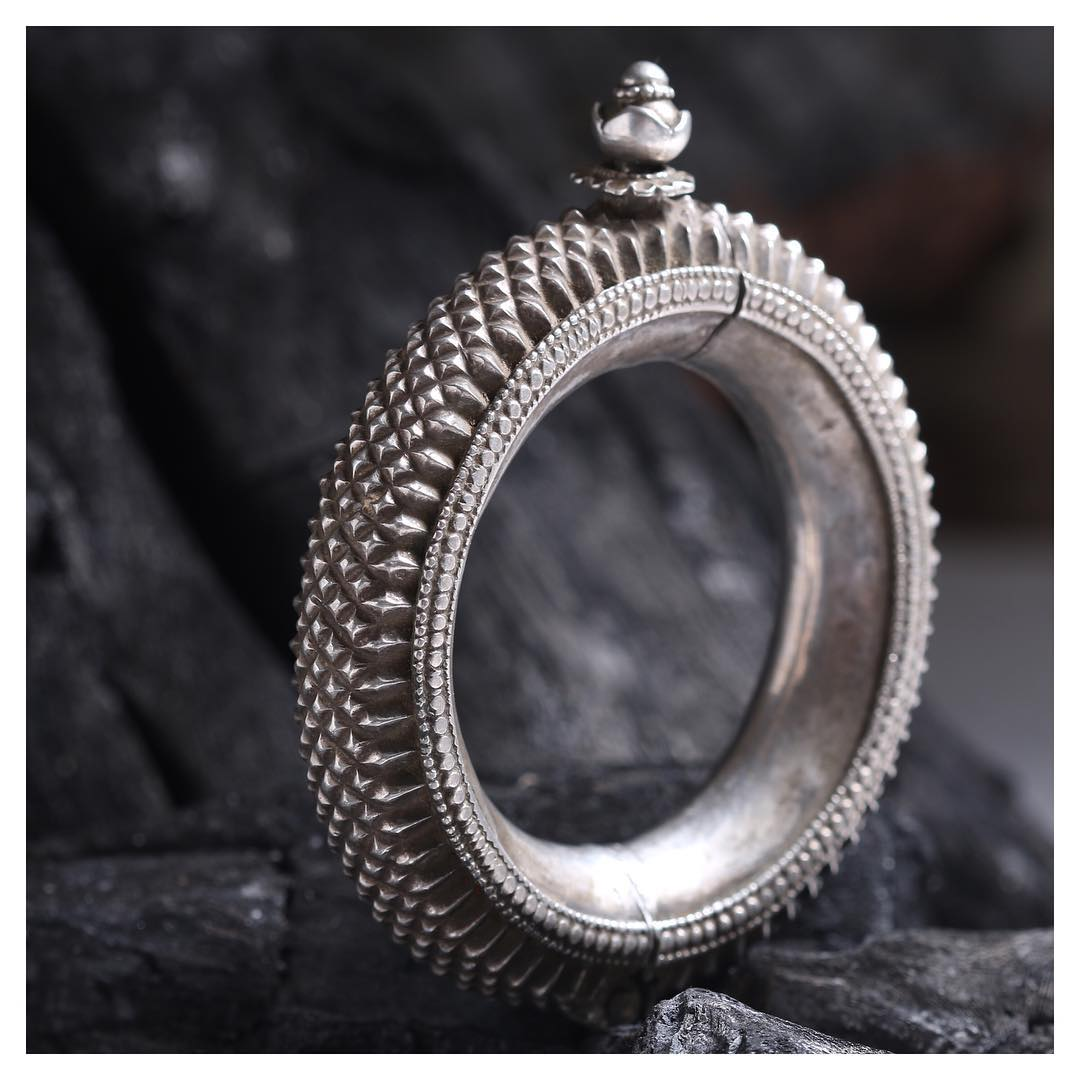 Silver Kada Bracelet with Antique Finish From Aadyaa Originals