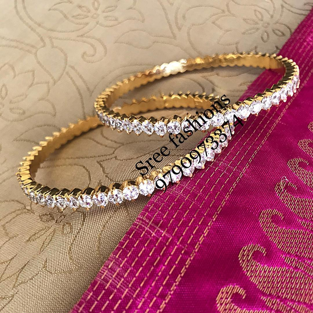 Beautiful Silver Stone Bangle From Sree Exotic Silver Jewelleries