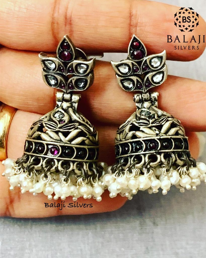 Cute Silver Jhumka From Balaji Silver
