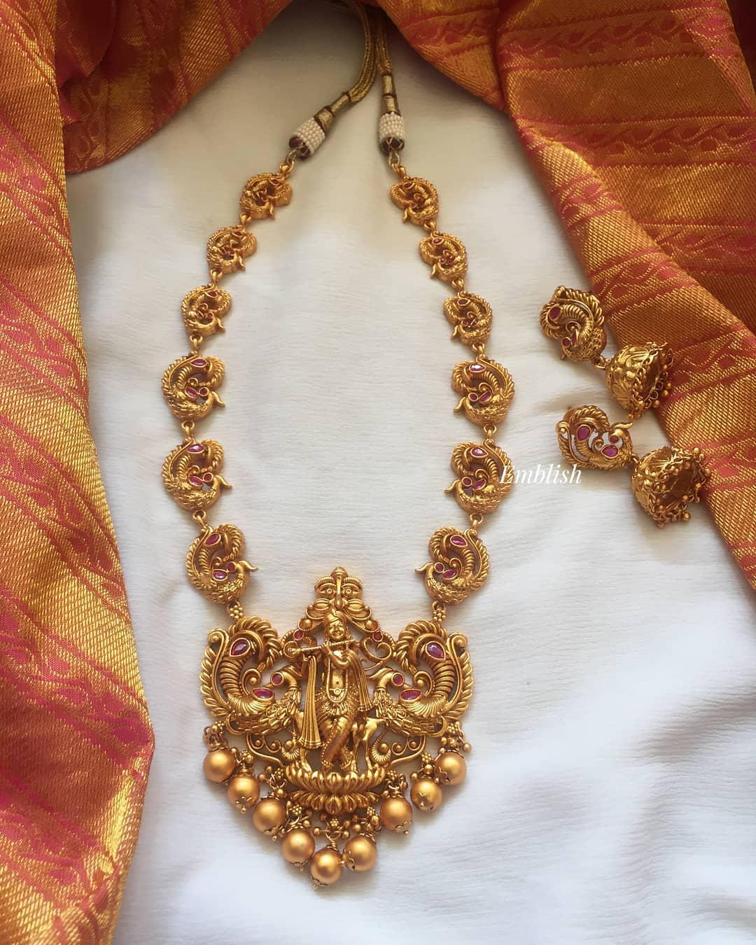 Krishna Peacock Neckpiece From Emblish Coimbatore